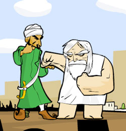 &lt;b&gt;Round one:&lt;/b&gt; Mohammed and God duke it out in Molleindustria&#039;s Faith Fighter